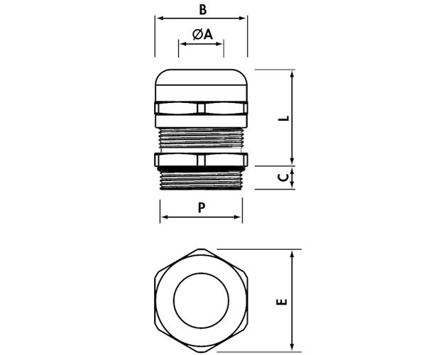 Gegenmutter Kabelverschraubung M16x1,5 inkl IP68, Messing vernickelt
