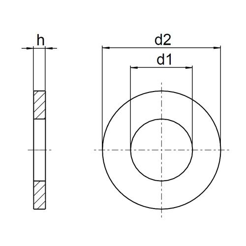 M30 Unterlegscheiben DIN 9021 Edelstahl A2 Beilagscheiben V2A U-Scheiben M2,5
